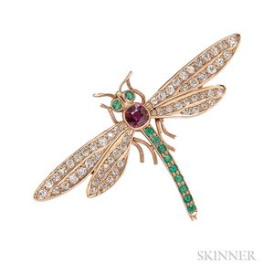 Antique Gem-set Gold Dragonfly Brooch