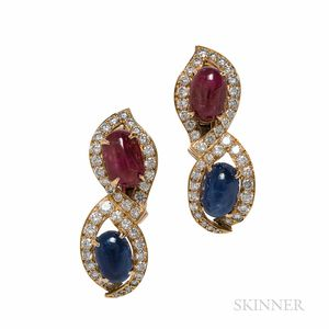 18kt Gold, Ruby, Sapphire, and Diamond Earclips