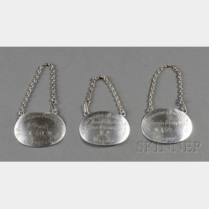 Set of Three Austro-Hungarian .800 Silver Bottle Tickets