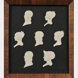 Framed Silhouette Portraits of a Keene, New Hampshire, Family