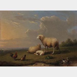 Franz van Severdonck (Belgian, 1809-1889)      Sheep with Chickens and Duck