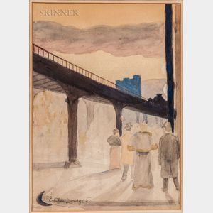 Louis Michel Eilshemius (American, 1864-1941)      Figures Under a Bridge