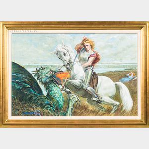 Arthur Polansky (American, 1929-2019)      Saint George Slaying the Dragon.