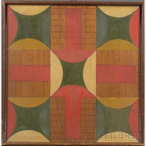 Polychrome Painted Wooden Parcheesi Game Board