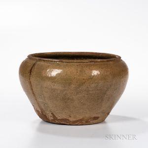 Celadon-glazed Stoneware Wide-mouthed Alms Bowl