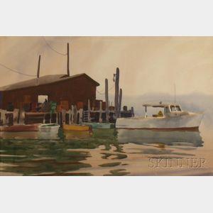Carl Nelson Schmalz, Jr. (American, b. 1926)      Dock Scene