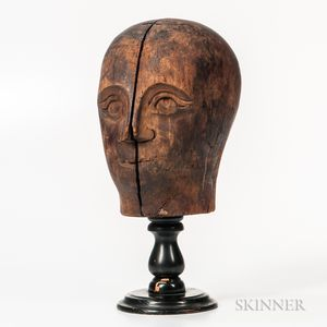 Folk Art Carved Wooden Head of a Man