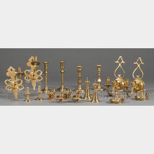 Sixteen Brass Lighting Implements