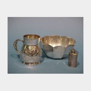 Tiffany & Co. Sterling Silver Bowl, Mug and Small Flask.