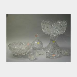 Colorless Cut Glass Punch Bowl with Pedestal and Twelve Cups, a Brilliant-Cut Bowl, a Carafe and Two Small Bowls.