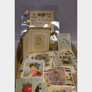 Lot of 19th and Early 20th Century Ephemera, Advertisements, Photographs, Prints, Trade Cards, Photo Album, Etc.