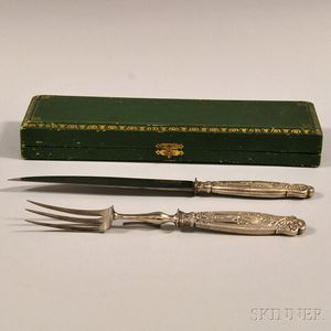 Boxed French .950 Silver-handled Two-piece Carving Set