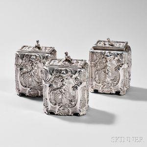 Three-piece George III Sterling Silver Tea Caddy Set