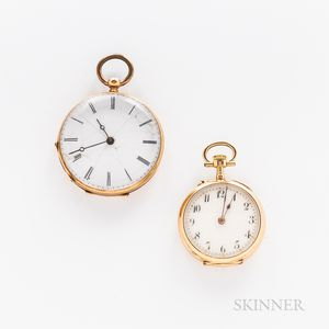 Two 14kt Gold Open-face Pendant Watches