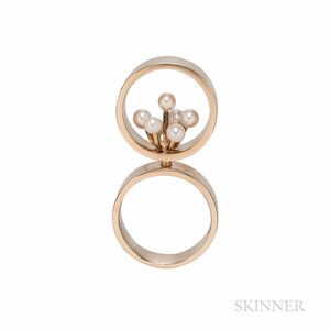 Hans Hansen 14kt Gold and Cultured Pearl Ring