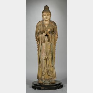 Sold for: $38,513 - Life-Size Carved Wood Statue of Bonten