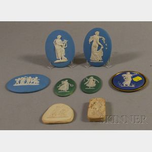 Six Wedgwood Jasper Medallions and Two Relief Decoration Molds