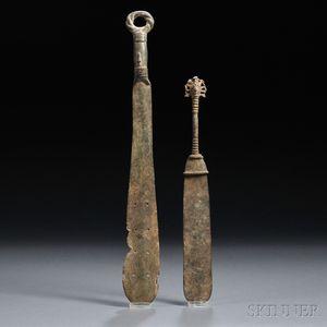 Two Yoruba Bronze Ceremonial Swords
