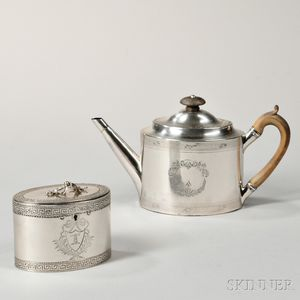 Two Pieces of George III Sterling Silver Tea Ware