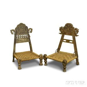 Two Spanish Carved Walnut and Woven Rope Low Chairs