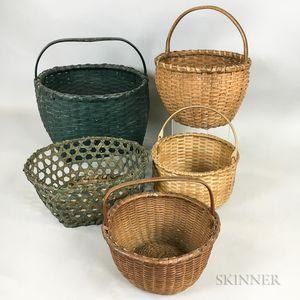 Nine Woven Splint Baskets