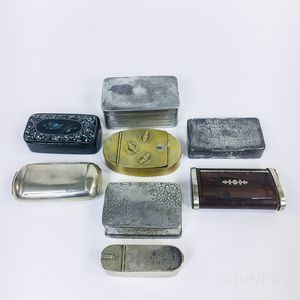 Eight Mostly Metal Snuff Boxes