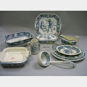Twenty-two Wedgwood Blue and White Ivanhoe Pattern Serving Pieces.