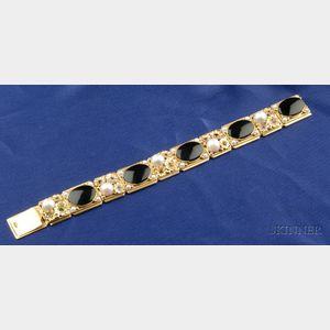 Arts & Crafts 14kt Gold, Cultured Pearl and Gem-set Bracelet, Edward Oakes