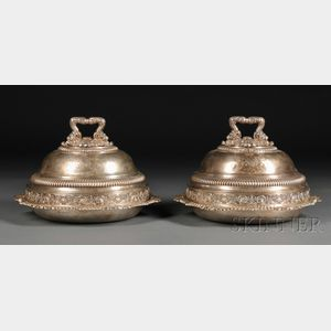 Two Assembled English Silver Tureens