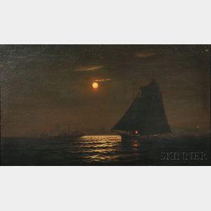 Warren W. Sheppard (American, 1858-1937)      Moonlit Seascape with Ship Under Sail