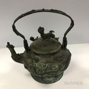 Large Bronze Handled Teapot