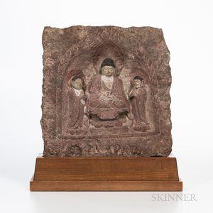 Painted Stone Stele of a Buddha Triad