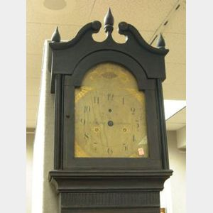 S. Thomas Grained and Paint Decorated Tall Case Clock