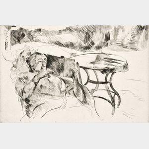 Lovis Corinth (German, 1858-1925)      Dame im Gartenstuhl