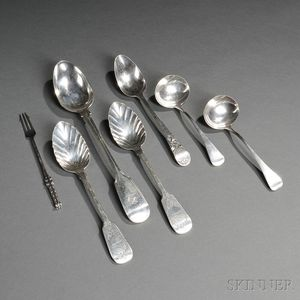 Seven Pieces of English Sterling Silver Flatware