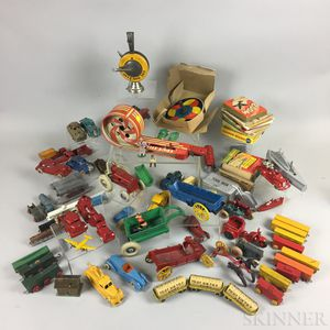 Group of Children's Games, Wooden Puzzles, and Metal Vehicles
