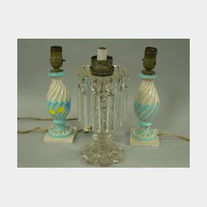 Pair of Italian Faience Boudoir Table Lamps and a Colorless Glass Lustre Lamp.
