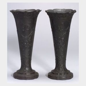 Pair of Wedgwood Black Basalt Trumpet Vases