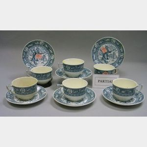 Set of Twenty-four Wedgwood Blue and White Ivanhoe Pattern Cups and Saucers.
