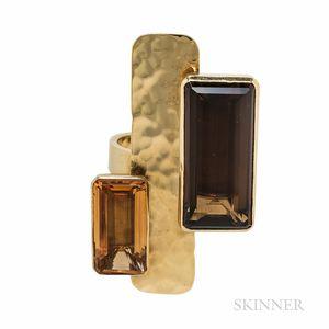 Robert Lee Morris 18kt Gold, Citrine, and Smoky Quartz Ring