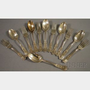 Set of Six Gorham Dessert Forks and Spoons in the Kensington Pattern