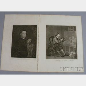 William Hogarth (British, 1697-1764)      Two Unframed Portrait Engravings of Hogarth:   Portrait of Hogarth with his Dog Trump