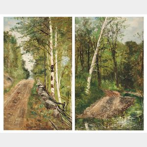 Frank Henry Shapleigh (American, 1842-1906)    Two Landscapes: Old Road in Jackson N.H.