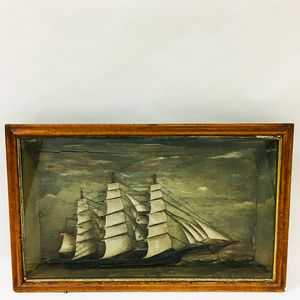 Carved and Painted Diorama of an English Ship