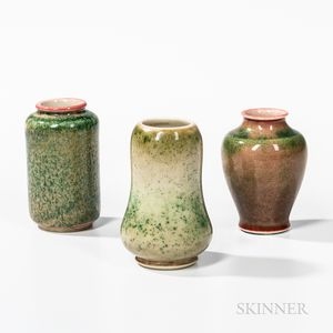 Three Small Flambe-glazed Vases
