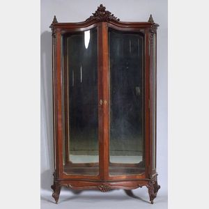 Louis XV Style Carved Mahogany Two-Door Display Cabinet.