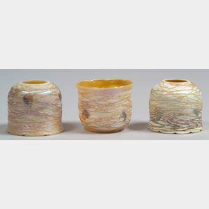 Three Decorated Art Glass Shades