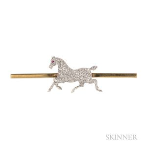 Antique Diamond Horse Brooch
