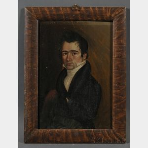 American School, 19th Century      Portrait of Benjamin Metcalf of Wilmington, Vermont