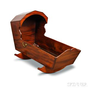 Early Carved and Dovetailed Mahogany Hooded Cradle